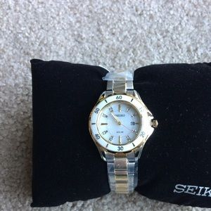 Brand NIB Seiko Watch Diamonds, Mother of Pearl